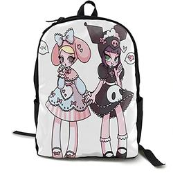 Casual Classic Backpack Kuromi and My Melody Shoulder Backpacks Packable Bags Student Backpack Travel Hiking Camping Daypack Backpack for Men/Women