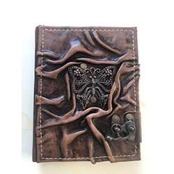 Butterfly Ornamented Leather Notebook - Handmade Genuine Leather - Rustic Handmade Vintage Leather Bound Journals for Men and Women - Leather Book Diary Pocket Notebook,- 4.7x6 inch 240 pages (Brown)