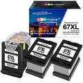 GPC Image Remanufactured Ink Cartridge Replacement for HP 67 67XL 67 XL 3YM57AN Eco-Saver Work with Envy 6055 6075 Envy Pro 6455 6458 DeskJet 2752 2755 DeskJet Plus 4140 4155 (1 Print Head+3 Black)