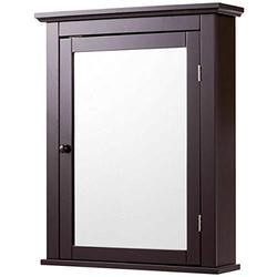 Bathroom Mirror Cabinet Wall Mounted Medicine Storage Adjustable Shelf Brown-Bathroom Wall Cabinet-Bathroom Cabinet Wall Mounted