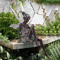 Sitting Fairy Statue, Angel Art Wall Sculpture, Garden Realistic Figurine Decor, 3D Angel Art Statue Decor, Home Table Ornaments, Garden Lawn Yard Art Porch Patio Outdoor Decorations (Angel Statue A)