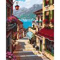 """Paint by Numbers DIY Acrylic Painting Kit for Kids & Adults 16"""" x 20"""" Abstract Harbour Small Town Landscape Paint by Number Kits for Beginners Coloring Decorative Painting Home Decor (Without Framed)"""