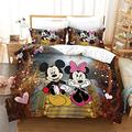 YuanHuHu Disney Mickey Mouse Bedding Minnie Mouse Duvet Cover and Pillowcase, 3D Bedding Set 100% Microfiber, for Adults and Childre (King:90 x 103,18)
