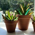 MorningDuck Simulation Aloe Plant Potted Classic Mini Stained Glass Aloe Potted Plant Decoration Garden Ornaments Artificial Plants Tiny Plant Succulents Accessories Potted Plastic Cactus Aloe