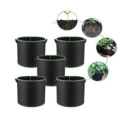 5-Pack Black/Green Grow Bags Aeration Fabric Planter Root Growing Pots w/Handles Outdoor planters Planter Boxes Outdoor Planter Box Outdoor Planter Small Planter Large planters Deck Planter