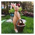 CFDZCP Garden Sculpture Outdoor Statues Garden Sculpture Rabbit with Basket Statue Garden Animals Sculpture, Bunny Shaped Flower Pot for Outdoor Balcony Patio Home Office