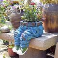 Denim Clothes Pants Resin Flower Pot, Resin Flower Pots Jeans Figurines Sculpture, Garden Denim Floral Pants Creative Flower Pot Decoration Ornaments, Sitting/Kneeling Pose Jeans Sculpture (Sitting)