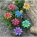 LKKT Garden Stake Patio Yard Decor Metal Flower Decoration , Metal Garden Flower Pile Decoration , Hand-Forged Metal Garden Art for Outdoor Garden and Yard Decoration (7 Colors)