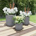3 Large Heavy Fiber Clay Outdoor Planters All Season Replanting Pots Patio Outdoor planters Planter Boxes Outdoor Planter Box Outdoor Planter Small Planter Large planters Deck Planter Small planters