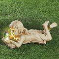 KUSK Solar Lighted Firefly Jar Light, Girl Statue Whimsical Flowerbed Yard Outdoor Sculpture, Garden Sculptures & Statues, with Solar Fireflies Statue-Garden Outdoor Decoration (Color : D)