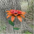 LKKT Garden Stake Patio Yard Decor Metal Flower Decoration , Metal Garden Flower Pile Decoration , Hand-Forged Metal Garden Art for Outdoor Garden and Yard Decoration (Orange)