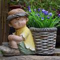 TRGCJGH Angels Statue Flower Pot,Angels Garden Statue Figurine for Indoor Outdoor Patio Garden Decorations Lawn Yard Decorations and Gift,Boy
