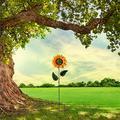 Egmy_ Metal Sunflower Garden Stakes, Stable Stake Metal Garden Spinner, Spinning Garden Stake Windmill Outdoor Garden Patio Decoration, Lawn & Yard Windmill Outdoor Garden Patio Decoration