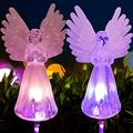 Kidyawn Spring Artificial Angel Solar Garden Beacon, 2Pcs Angel Lamp Solar Lawn Light Angel Solar Lawn Light, Garden Angel Gifts Garden Decor Garden Gifts for Mom Memorial Stones for Loved Ones (2)