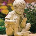 KUSK Solar Lighted Firefly Jar Light, Girl Statue Whimsical Flowerbed Yard Outdoor Sculpture, Garden Sculptures & Statues, with Solar Fireflies Statue-Garden Outdoor Decoration (Color : A)