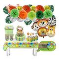 XFXCH Monkey Lion Aluminum Foil Balloon Birthday Party Decoration Kids Disposable Tableware Cake Topper Shower Birthday party supplies (Color : 12set cake decor)