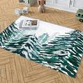 Personalized Snowy Pine Forest Green Area Rug Non Slip Rugs Bedroom Dining Living Room Outdoor Playroom Hallway Runner Rug Floor 2x3 3x5 4x6 5x8 Area Rug