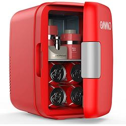 OMMO Mini Fridge, 6 L/8 Can Portable Fridge, Cooler and Warmer Compact Small Refrigerator with AC/DC Power, for Skincare, Medications, Beverage, Home and Travel, Red
