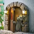 FASW Dragon Statue Dragon Sculpture Lovely Courtyard Dragon Sculpture Resin Window Shape Statue Wall Art for Home Outdoor Decoration