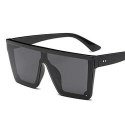 New Oversized Sunglasses Women Big Frame Square Flat Top Rivet Sunglasses Female Men Vintage Mirror Shades Gradient UV400