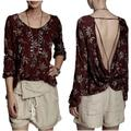 Free People Tops   Free People Red Green Leaf Print Cowl Back Blouse   Color: Red   Size: M