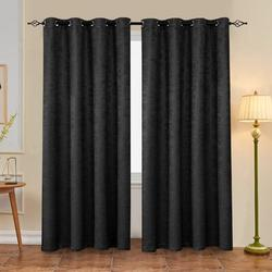 The Twillery Co.® Jayla Embossed Solid out Thermal Grommet Curtain Panels Polyester in Black, Size 96.0 H in | Wayfair SBTYAHCLBL03