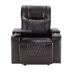 """Latitude Run® 35.8"""" Wide Faux Leather Power Rocker Home Theater Recliner in Brown, Size 42.1 H x 35.8 W x 37.8 D in 