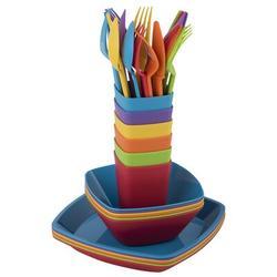 CaterEco Melange Plastic Dinner Set 432-Piece-Dinner Plates, Bowls & Tumbler (72 Each) w/ 216 Pc Flatware| Square Multicolor Dinner Set | Wayfair