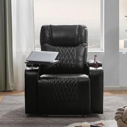 "Latitude Run® 35.8"" Wide Faux Leather Power Rocker Home Theater Recliner in Black, Size 42.1 H x 35.8 W x 37.8 D in   Wayfair"