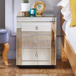 Everly Quinn Souvenance 3 - Drawer Nightstand in Silver/Mirror Wood in Brown/Gray, Size 24.0 H x 17.0 W x 15.0 D in | Wayfair