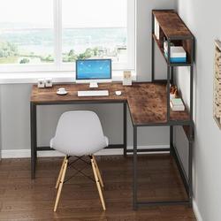 Inbox Zero Ressie L-Shape Desk in Brown, Size 58.6 H x 55.0 W x 49.0 D in | Wayfair 7F3E3996DC2A4A82A240F2F217B78E2F