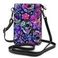 Paisley Flower Skull Cell Phone Purse Crossbody, Phone Bag, Crossbody Cell Phone Wallet Purse, Cute Phone Purses with Shoulder Strap, Leather Clutch Handbag