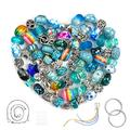 Aipridy 124 Pcs DIY Jewelry Making Kit Gift for Adults and Kids, European Lampwork Beads Metal Spacer Beads Rhinestone Supplies for Charms Bracelets Making kit(Lake Blue)