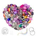 Aipridy 124 Pcs DIY Jewelry Making Kit Gift for Adults and Kids, European Lampwork Beads Metal Spacer Beads Rhinestone Supplies for Charms Bracelets Making kit(Purple)
