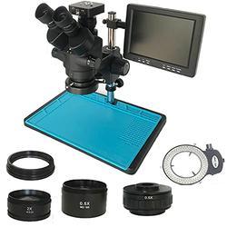 CHUNSHENN Industrial Simul-focal 3.5X-90X Trinocular stereo microscope+ 34MP HDMI Digital USB Camera+8 inch LCD Monitor +144 Led lights (Color : White color, Magnification : 3.5X 90X add 0.5 2.0)