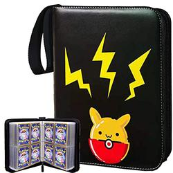 Trading Card Binder with Sleeves Compatible with Pokemon Cards, Baseball Card Holder Album with Sleeves, Book Best Protection Trading Cards - 4 Pocket 50 Pages - Put up to 400 Cards(Pika-Balck)