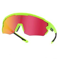 Polarized Cycling Sunglasses Polarized Sports Sunglasses with 3 Interchangeable Lenes for Men Women Cycling Running Driving Fishing Golf Baseball Glasses. (Green Red)