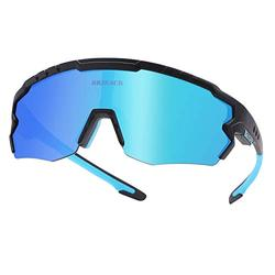 Polarized Cycling Sunglasses Polarized Sports Sunglasses with 3 Interchangeable Lenes for Men Women Cycling Running Driving Fishing Golf Baseball Glasses. (Blue Black)