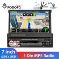 """Podofo – autoradio avec écran tactile 7 """", GPS, lecteur multimédia MP5, rétractable, 1 Din, pour"""