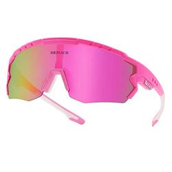 Polarized Cycling Sunglasses Polarized Sports Sunglasses with 3 Interchangeable Lenes for Men Women Cycling Running Driving Fishing Golf Baseball Glasses. (Pink)