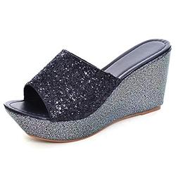 Women Wedges Slides Sandals Summer Sequined Bling Platform Sandals Mid Heel Peep Toe Dress Slippers Shoes balck 7-39