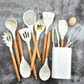 Ensemble d'ustensiles de cuisine en Silicone blanc, spatule antiadhésive, manche en bois, boîte de