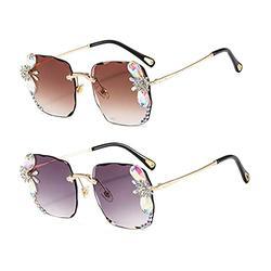 Diamond Rhinestone Sunglasses Women Men Luxury Crystal Sun Glasses Clear Lens Oversized Frame Square Sun Glasses Vintage Shades (2Pack-gaery&brown)