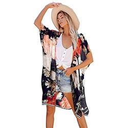 black cardigan mesh swimsuit cover ups for women matching swimsuits tankini tops for women swimwear Women's Floral Kimono Cardigans Chiffon Casual Loose Open Front Cover Ups Tops