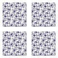 Lunarable Floral Coaster Set of 4, Ethnic Style Folkloric Culture Curlicue Leaves and Flowers in Monochrome Style, Square Hardboard Gloss Coasters, Standard Size, Navy Blue White
