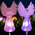 Outdoor Solar Angel Lights Garden Decorations, Solar Powered Garden LED Lights Glass Flower Stakes, Solar Powered Landscape Lights for Pathway,Patio,Lawn,Garden,Yard Decor (2PCS)