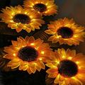 Sucpur 2 Pcs Solar Lights Outdor, Sunflower Garden Lighting Waterproof Landscape Decoration Lighting Large Realistic Flowers for Courtyard Outdoor Solar Garden Stake Lights Sloar Flower Lights Lantern