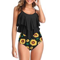 Zando Women's Tankini Swimsuits High Waisted Swimsuit for Women Printed Tankini Tops with Swim Bottom Swimwear Two Piece Bathing Suits 2 Piece Swim Suits Tummy Control Swimsuits Black Sunflower 10-12
