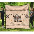 Native American Pride Bison Quilt, Patrick's Day Gift Quilt Patterns All-Season Quilts Comforters with Cotton - King Queen Twin Size Beach Trips, Gifts Quilt