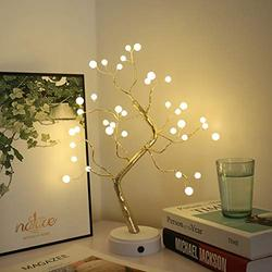 """DSDecor Tabletop Tree Lamp 20"""" DIY Artificial Bonsai Tree with 36 Pearls LED Lights Battery/USB Operated Lighted Tree for Home Office Desktop Festival Holiday Decor"""